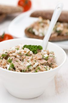 Free Pate With Tuna, Homemade Cheese And Dill In A Bowl Stock Images - 36358114