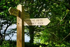 Free Signpost Along The Coastal Path Royalty Free Stock Images - 36358599