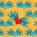 Free Vector Seamless Pattern With Flying Hearts Stock Photos - 36365623