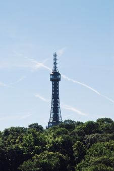 View Of Petrin Lookout Tower, Prague Royalty Free Stock Photos