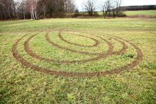 Ruts In The Grass Stock Image