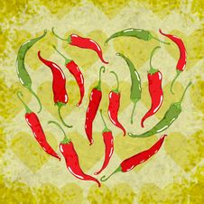 Free Vector Background With Peppers Heart Royalty Free Stock Photos - 36365658