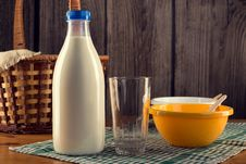 Still Life Of Bottle Of Milk With Empty Glass Royalty Free Stock Photo