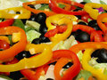 Free Freshly Prepared Garden Salad With Sliced Bell Peppers On Top Royalty Free Stock Photography - 36372527