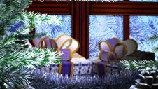New Years Gift With Open Window  Sale Background Stock Images