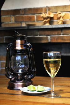 Wine Glass And Lamp Stock Photography