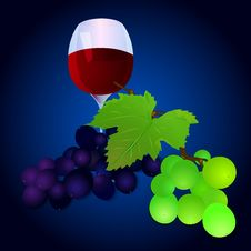 Free Grapes With A Glass Royalty Free Stock Images - 36381119