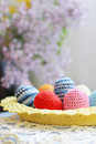 Free Handmade Knitted Easter Eggs And Lilac Flower Royalty Free Stock Photo - 36397185
