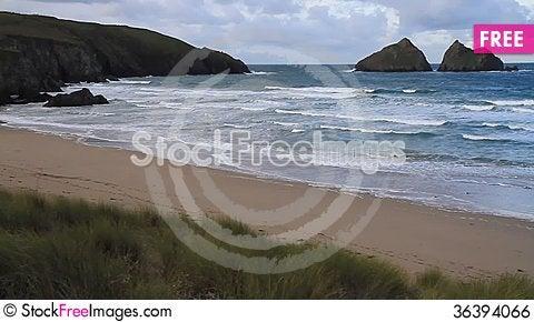 Free Waves On The Beach Holywell Bay Cornwall England Near Newquay Royalty Free Stock Image - 36394066