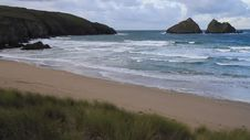Waves On The Beach Holywell Bay Cornwall England Near Newquay Royalty Free Stock Image