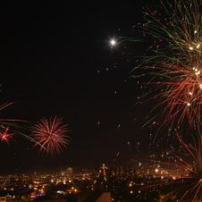 New Year S Eve Fireworks In The City Of Arequipa, Peru. Stock Photo