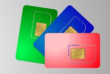 Free Three Sim Cards On Gray Stock Photo - 36399420