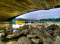 Free Boat Seen Under Bridge Stock Photography - 3644572