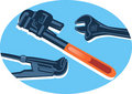 Free Adjustable Spanner In Blue Royalty Free Stock Photography - 3646367