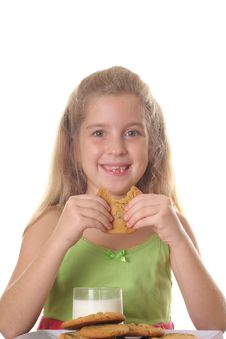 Free Young Child Eating Chocolate Chip Cookie Stock Photo - 3641120