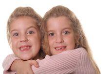 Free Happy Sisters Hug On White Royalty Free Stock Image - 3641146