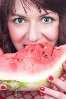 Free The Girl Eats A Water-melon Stock Photography - 3641242