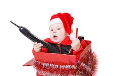 Infant In Christmas Box 5 Stock Photo