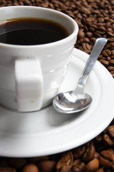 Free Cup With Coffee, Costing On Coffee Grain Stock Photography - 3643362