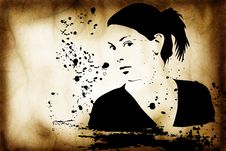 Free Hand Drawn Silhouette Of A Woman Stock Photo - 3643410
