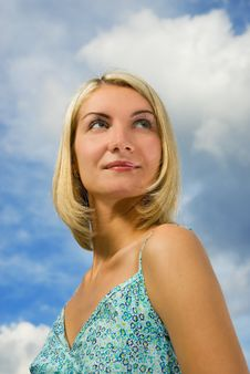 Free Girl And Blue Cloudy Sky Royalty Free Stock Photography - 3643537
