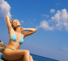 Free Girl Relaxing Near The Sea Royalty Free Stock Photo - 3643555