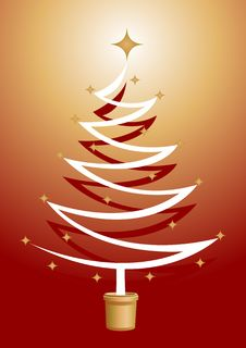 Free Christmas Tree Illustration With Gold Stars Royalty Free Stock Image - 3645086