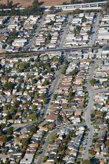 Free Aerial View Of Residential Urban Sprawl Royalty Free Stock Photography - 3645527
