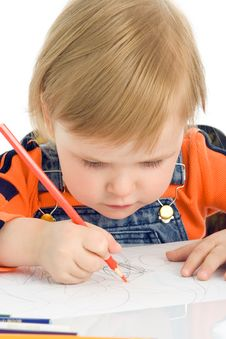 Close-up Pretty Baby Draw Color Pencil Royalty Free Stock Photo