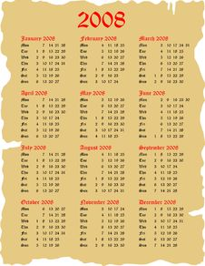 Free Goth 2008 Calendar Royalty Free Stock Photos - 3648378