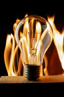 Free Lightbulb Over Fire Stock Images - 3648404