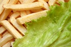 Free French Fries And Lettuce Salad Stock Photography - 3649422