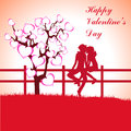 Free Man, Woman And Love Tree With Hearts On A Grass Royalty Free Stock Images - 36403199