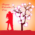 Free Man, Woman And Love Tree With Hearts On A Grass Stock Images - 36403214
