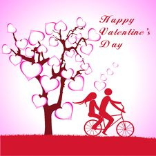 Free Man, Woman And Love Tree With Hearts On A Grass Royalty Free Stock Image - 36403206
