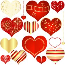 Collection Red And Gold Isolated Hearts Royalty Free Stock Photos