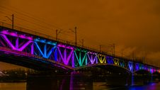 Free Colorfully Illuminated Railway Bridge Royalty Free Stock Photography - 36408157