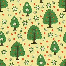 Free Seamless Kids Pattern With Apple Trees Royalty Free Stock Photo - 36408735