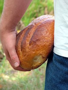 Free A Man With Bread. Royalty Free Stock Photography - 36409197
