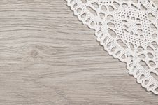 Free White Lace On A Wooden Background Stock Image - 36409471