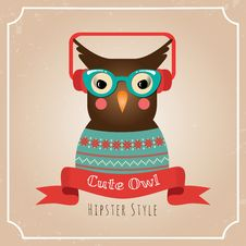 Free Vector Illustration Of Hipster Owl Royalty Free Stock Photography - 36409497