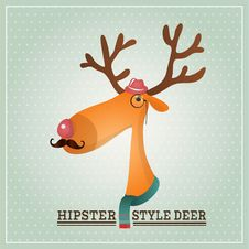 Free Vector Illustration Hipster Reindeer Stock Photos - 36409953