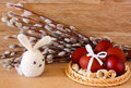 Free Easter Eggs And Rabbit On Catkins Background Stock Photos - 36414833