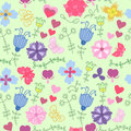 Free Cute Floral Seamless Pattern With Butterflies Stock Photography - 36415192