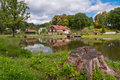Free Big Family House In Front Of The Lake In The Forest Royalty Free Stock Images - 36416099