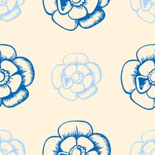 Free Vintage Seamless Pattern With Blue Flowers Royalty Free Stock Image - 36412426