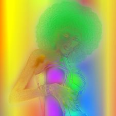 Free Retro Metallic Abstract Image Of A Woman With An Afro Hairstyle. Royalty Free Stock Images - 36413409