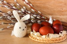 Free Easter Eggs And Rabbit On Catkins Background Royalty Free Stock Photos - 36414738