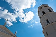 Belfry Tower Of A Vilnius Cathedral Stock Image