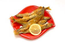 Free Fried Fish-capelin And Lemon Stock Photography - 36416142